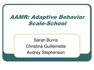 AAMR: Adaptive Behavior Scale-School