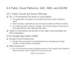 4.4 Public Cloud Platforms: GAE, AWS, and AZURE