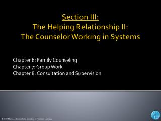 Section III: The Helping Relationship II:  The Counselor Working in Systems