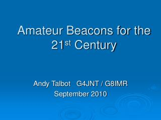 Amateur Beacons for the 21st Century