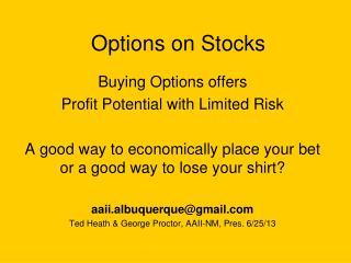 Options on Stocks