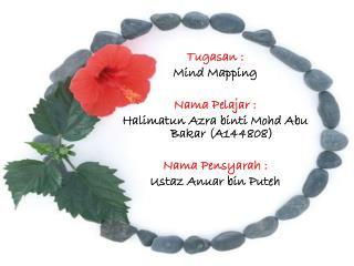 Tugasan  :  Mind Mapping Nama P elajar  : Halimatun Azra binti Mohd  Abu  Bakar (A144808)