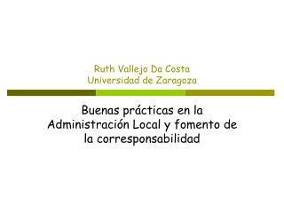 Ruth Vallejo Da Costa Universidad de Zaragoza