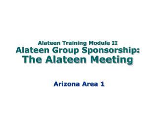 Alateen Training Module II Alateen Group Sponsorship:  The Alateen Meeting