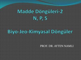 Madde  Döngüleri-2 N, P, S Biyo - Jeo -Kimyasal Döngüler