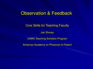 Observation & Feedback