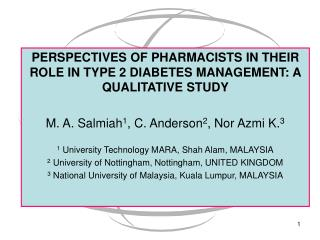PERSPECTIVES OF PHARMACISTS IN THEIR ROLE IN TYPE 2 DIABETES MANAGEMENT: A QUALITATIVE STUDY