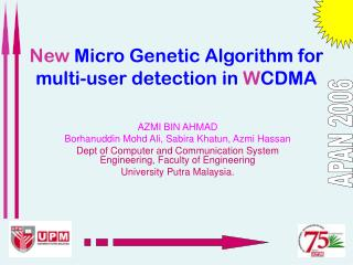 New  Micro Genetic Algorithm for multi-user detection in  W CDMA