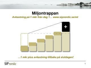 Miljontrappan Avkastning på 1 mkr från dag 1… sipnordic.se/mt