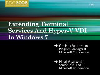 Extending Terminal Services And Hyper-V VDI In Windows 7