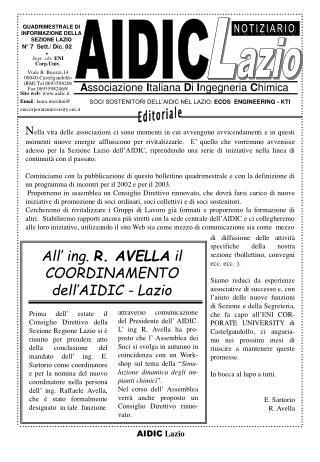 All' ing.  R. AVELLA  il COORDINAMENTO dell'AIDIC - Lazio