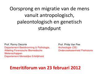 Oorsprong en migratie van de mens vanuit antropologisch, paleontologisch en genetisch standpunt