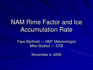 NAM Rime Factor and Ice Accumulation Rate