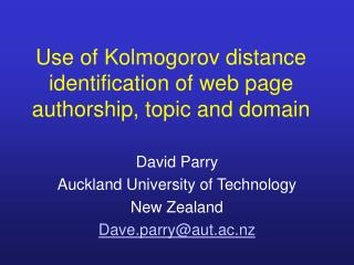 Use of Kolmogorov distance identification of web page authorship, topic and domain