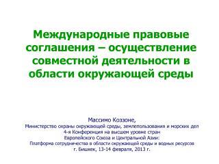 Массимо Коззоне , Министерство охраны окружающей среды, землепользования и морских дел