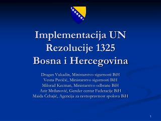 Implementacija UN Rezolucije 1325 Bosna i Hercegovina