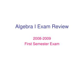 Algebra I Exam Review
