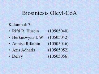 Biosintesis Oleyl-CoA