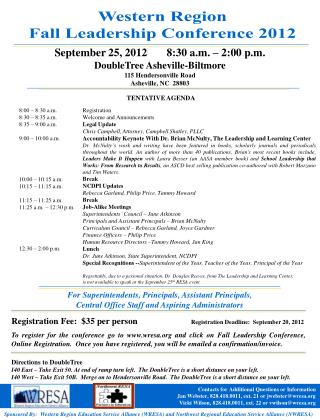September 25, 2012       8:30 a.m. – 2:00 p.m. DoubleTree Asheville-Biltmore
