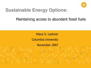 Sustainable Energy Options: