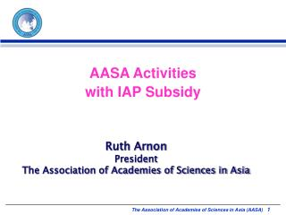 AASA Activities  with IAP Subsidy