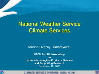 National Weather Service  Climate Services
