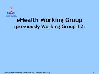 eHealth Working Group (previously Working Group T2)