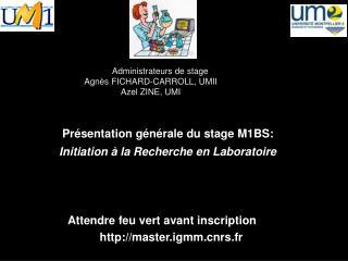 Administrateurs de stage Agnès FICHARD-CARROLL, UMII Azel  ZINE, UMI