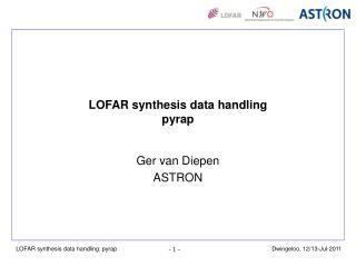 LOFAR synthesis data handling pyrap