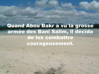 Quand Abou Bakr a vu la grosse arm�e des Bani Salim, il d�cida de les combattre courageusement.
