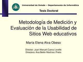 Metodolog a de Medici n y Evaluaci n de la Usabilidad de Sitios Web educativos