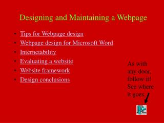 Designing and Maintaining a Webpage