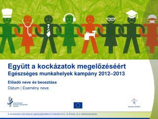 Együtt a kockázatok megelőzéséért Egészséges munkahelyek  kampány  2012– 20 13