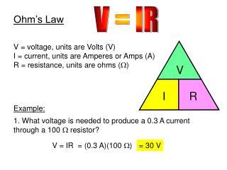 V = IR