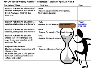 AP/UW Psych Weekly Planner – Robertson – Week of April 28-May 2