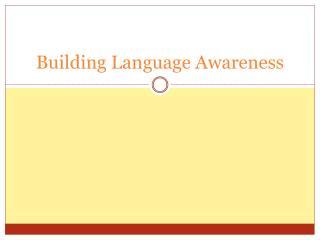 Building Language Awareness