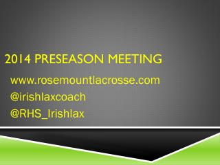 2014 Preseason Meeting