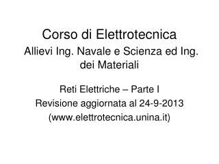 Corso di Elettrotecnica Allievi Ing. Navale e Scienza ed Ing. dei Materiali