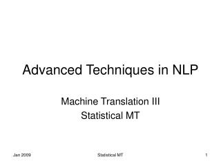 Advanced Techniques in NLP