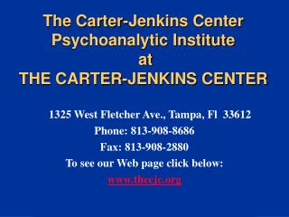 The Carter-Jenkins Center Psychoanalytic Institute  at  THE CARTER-JENKINS CENTER