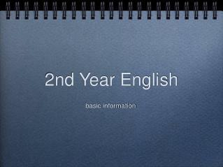 2nd Year English