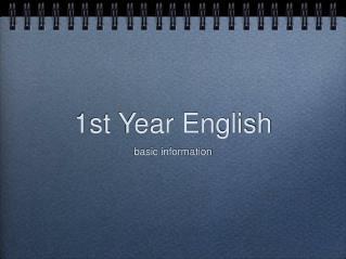 1st Year English