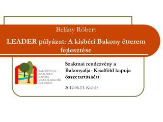 Belány Róbert LEADER pályázat: A kisbéri Bakony étterem fejlesztése