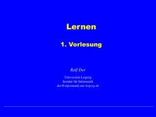 Lernen 1. Vorlesung