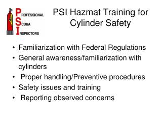 PSI Hazmat Training for Cylinder Safety