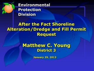 After the Fact Shoreline Alteration/Dredge and Fill Permit Request Matthew C. Young District 3