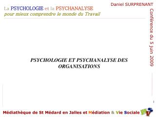 PSYCHOLOGIE ET PSYCHANALYSE DES ORGANISATIONS