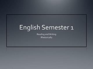 English  Semester  1