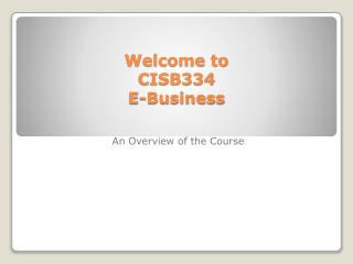 Welcome to  CISB334  E-Business