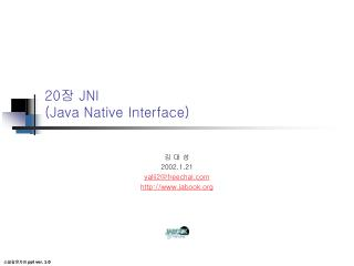 20 ?  JNI (Java Native Interface)